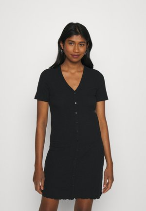VMARIA SHORT BUTTON DRESS - Jerseyjurk - black