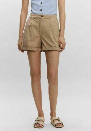 HIGH WAIST - Shorts - mottled beige