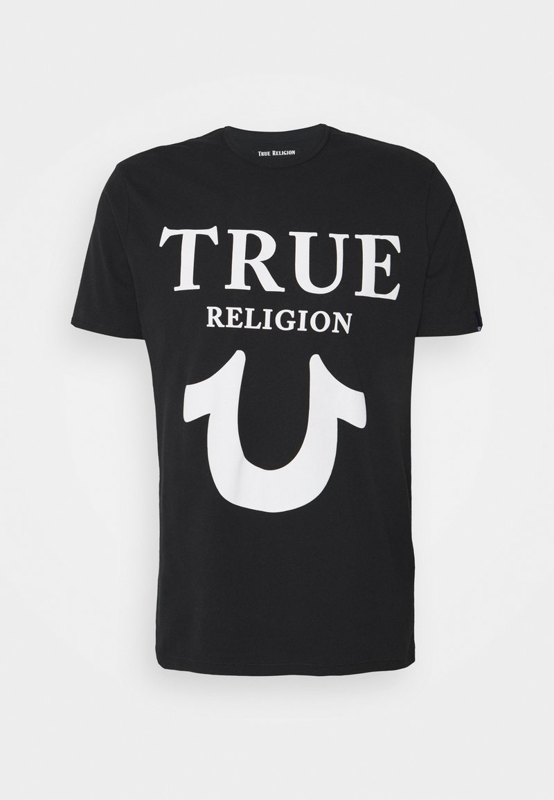 True Religion - CREW NECK BIG HORSESHOE - Triko spotiskem - black