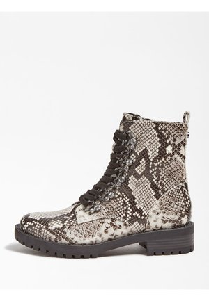 Lace-up ankle boots - animalier