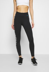 Nike Performance - ONE DAISY - Legging - black/laser blue - 0