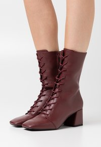 Monki - VEGAN THELMA BOOT - Lace-up boots - whine red - 0