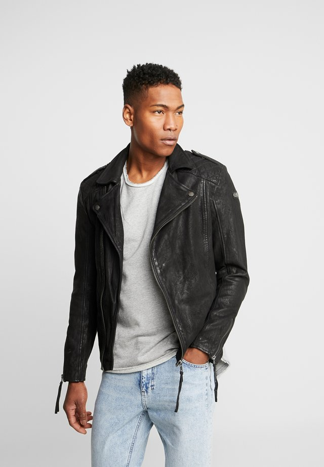 ELON BUFFED - Leather jacket - black