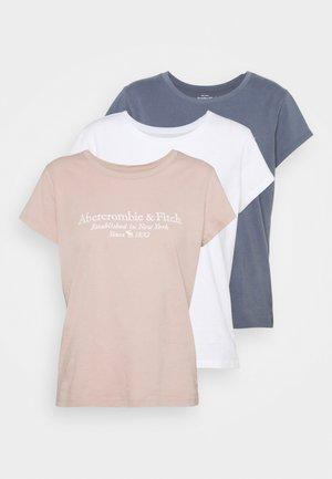 LONG LIFE 3 PACK - T-shirt z nadrukiem - white/blue/pink