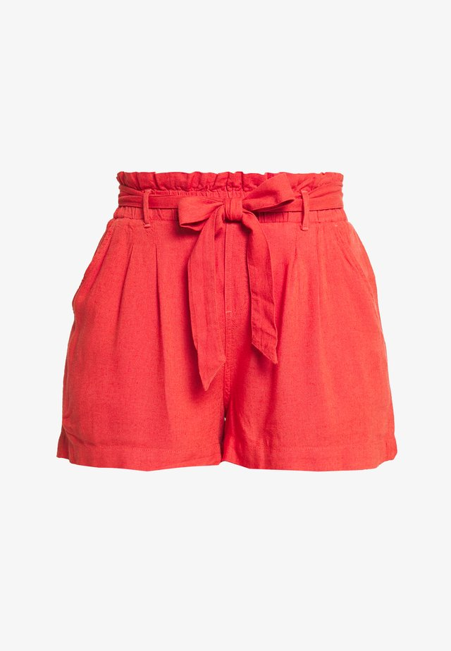 TIE FRONT PAPERBAG - Short - red