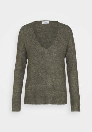 JDYELANORA V NECK - Sweter - kalamata melange