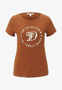 TOM TAILOR DENIM - MIT PRINT - Print T-shirt - amber brown - 4