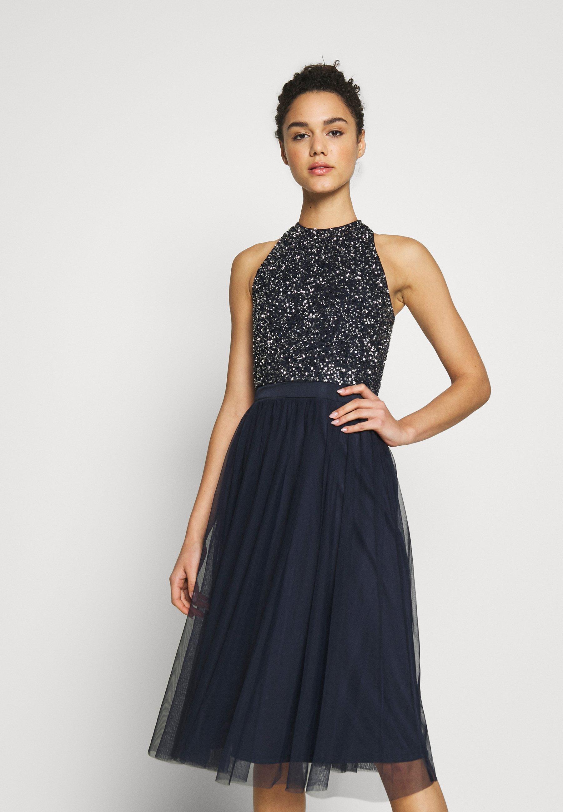 Lace Beads Sania Dress Cocktailkleid Festliches Kleid Navy Dunkelblau Zalando De