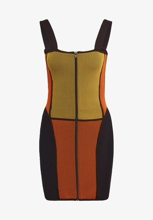 PAOLINA RUSSO COLLAB SPORTS INSPIRED SLIM DRESS - Pouzdrové šaty - active gold/black/energy orange/collegiate navy