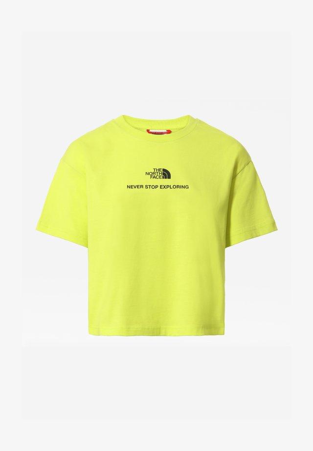 W LOGO CROPPED TEE - T-shirt con stampa - sulphurspringgn/tnfblack