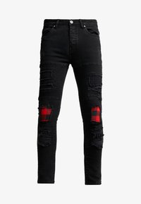 Brave Soul - VEGAS - Jeansy Skinny Fit - charcoal wash/red - 3