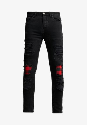 VEGAS - Jeansy Skinny Fit - charcoal wash/red