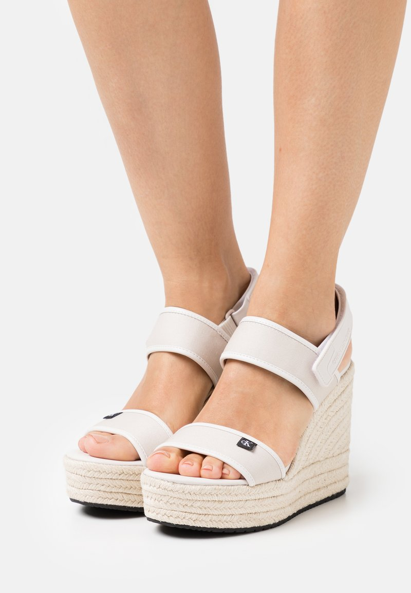 Calvin Klein Jeans - SLING CO - High heeled sandals - white/sand