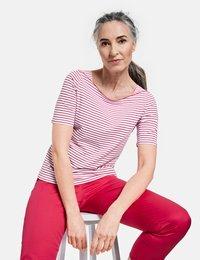 Gerry Weber - 1/2 ARM - Print T-shirt - ecru/weiss/lila/pink ringel - 2