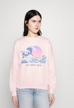 Wave Printed Oversized Sweatshirt - Sweatshirt - pink