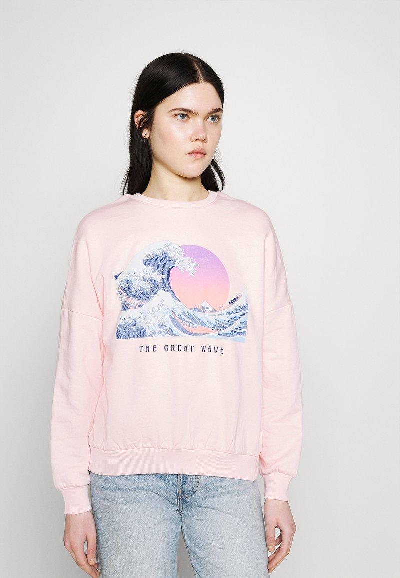 Even&Odd - Wave Printed Oversized Sweatshirt - Bluza - pink