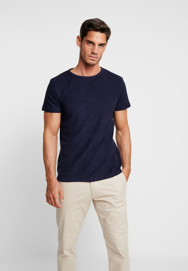 CREW NECK TOWELLING - T-shirt - bas - navy