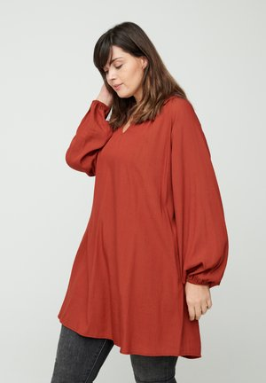 LONG-SLEEVED - Tunic - red