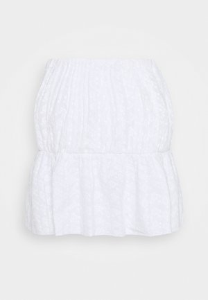 EMBROIDERED MINI SKIRT - Minifalda - white