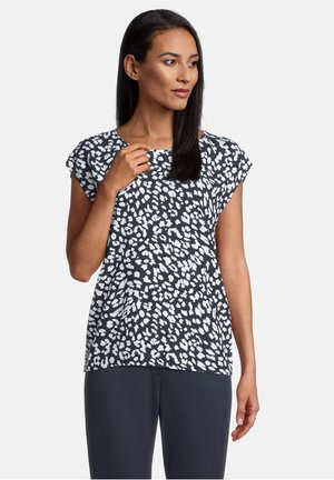 T-shirt print - dunkelblau/weiß