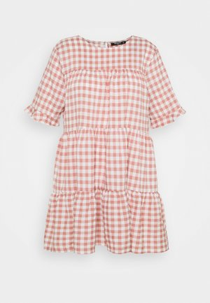 PLUS CHECK FRILL CUFF RUCHED MINI DRESS - Sukienka letnia - pink