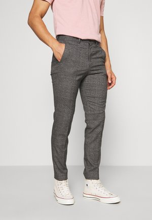 CHECKED TROUSER FLAT FRONT - Trousers - grey