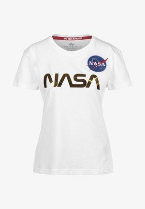 NASA - Printtipaita - white/gold