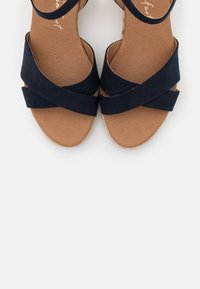 New Look Wide Fit - WIDE FIT YABBY CROSS VAMP LOW WEDGE - Loafers - navy - 5