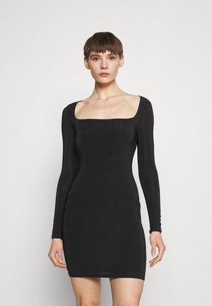 SLINKY WIDE NECK MINI DRESS - Robe en jersey - black
