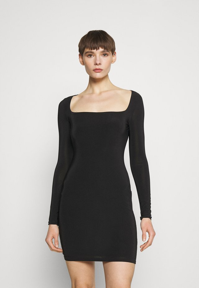 SLINKY WIDE NECK MINI DRESS - Jersey dress - black