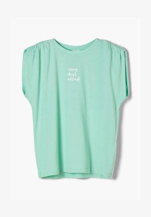 MIT SCHULTER-RAFFUNG - T-shirt con stampa - mint