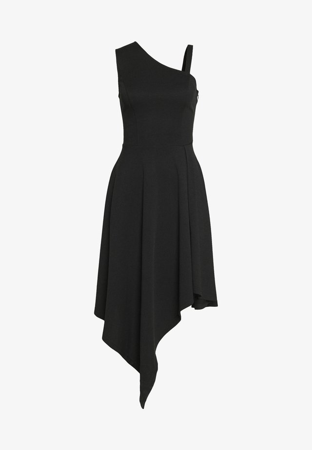 FRILL SHOULDER MIDI DRESS - Jerseykjoler - black