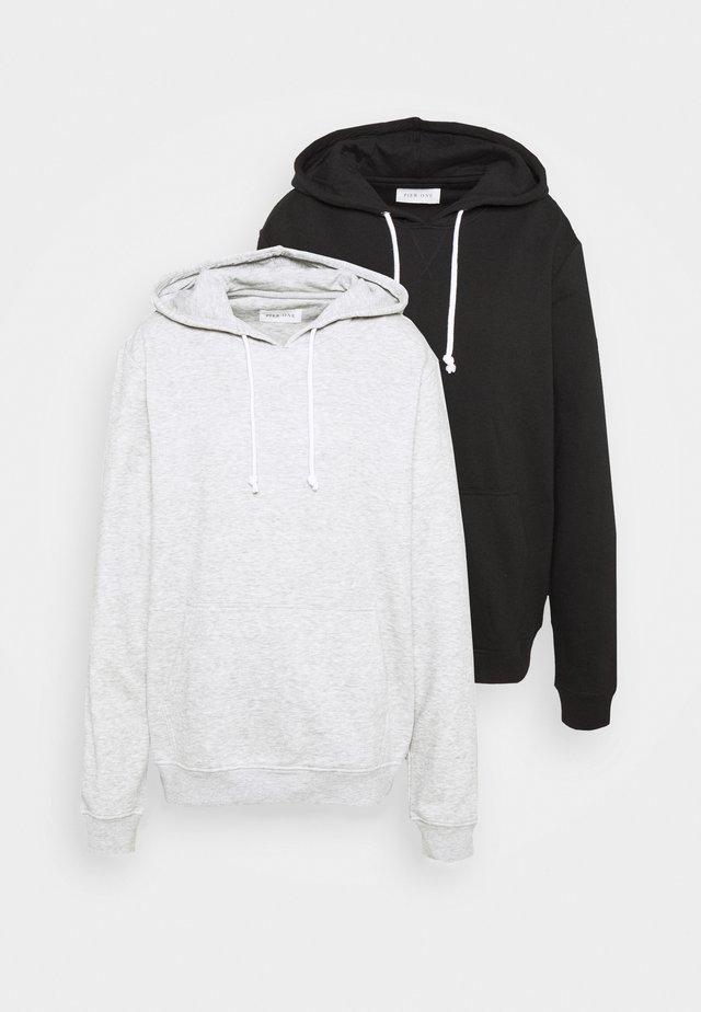2 PACK - Bluza z kapturem - black / light grey