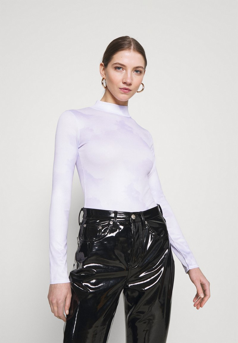 Missguided - HIGH NECK BODYSUIT - Long sleeved top - blue