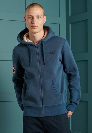 Zip-up hoodie - box navy birdseye