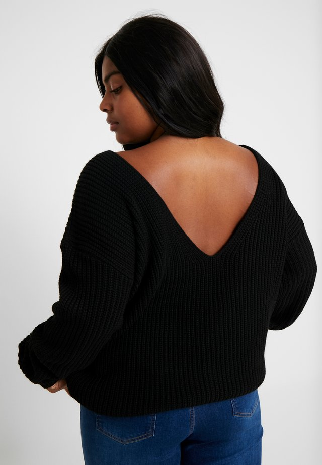 BACK VNECK  - Neule - black