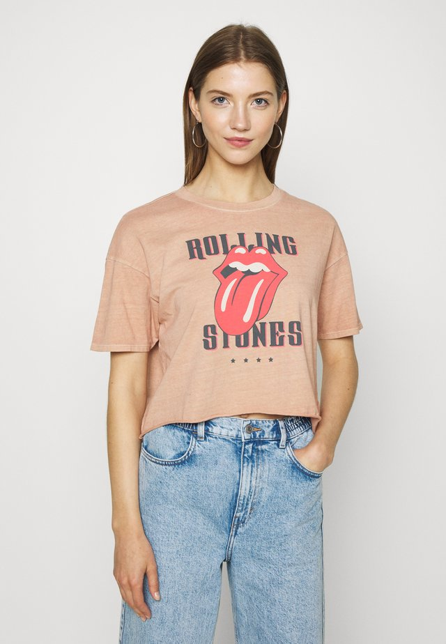 LOW CROP TEE ROLLING STONES - T-shirt print - rose