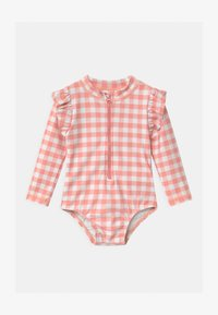 Cotton On - LUCY LONG SLEEVE SWIMSUIT - Swimsuit - smoked salmon/gingham - 0