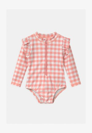 LUCY LONG SLEEVE SWIMSUIT - Swimsuit - smoked salmon/gingham