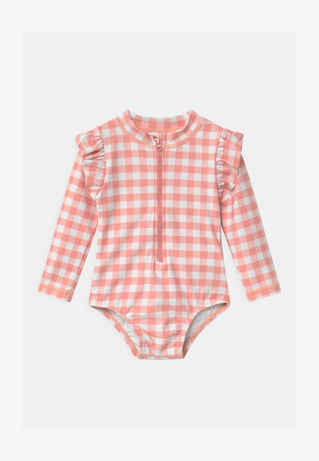 LUCY LONG SLEEVE SWIMSUIT - Bañador - smoked salmon/gingham