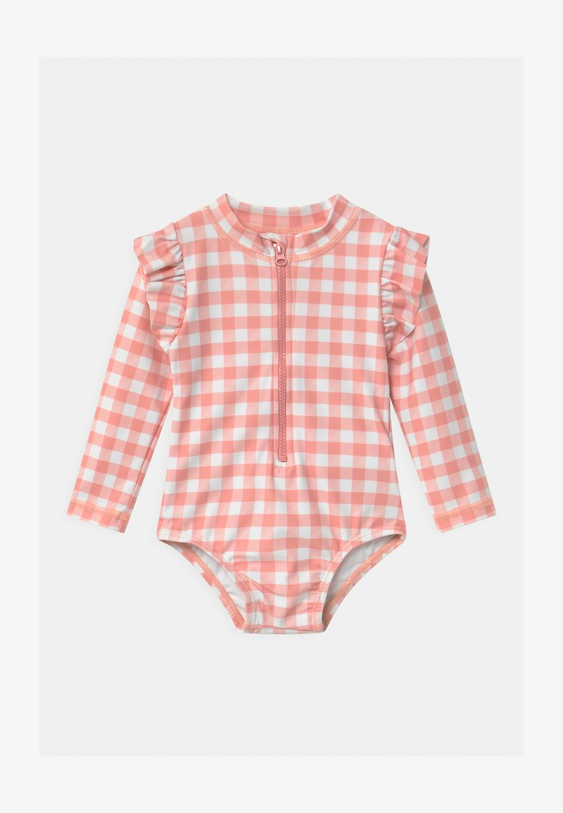 Cotton On - LUCY LONG SLEEVE SWIMSUIT - Swimsuit - smoked salmon/gingham