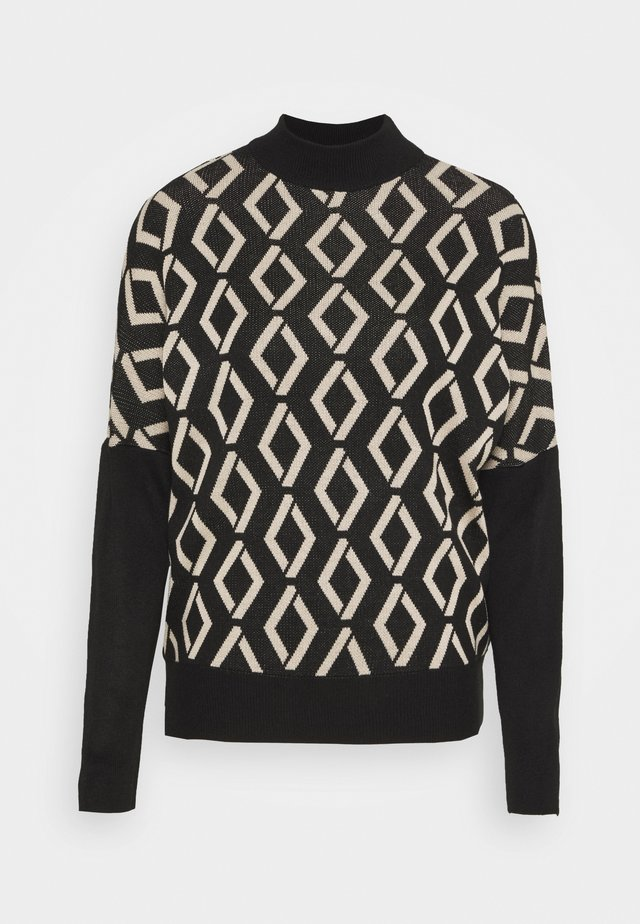 DIAMOND HIGH NECK JUMPER - Sweter - black