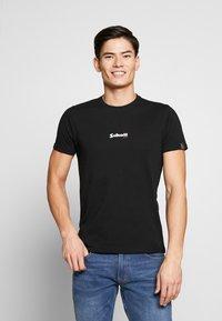 Schott - SMALL LOGO CENTRAL 2 PACK - Basic T-shirt - black /grey heather - 1
