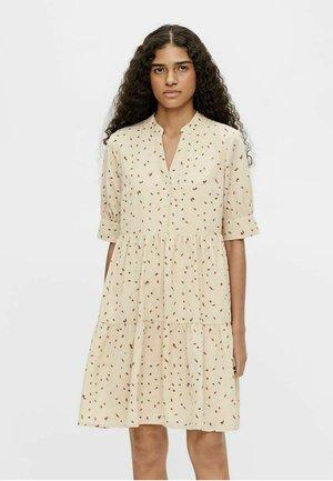 Shirt dress - brown, beige