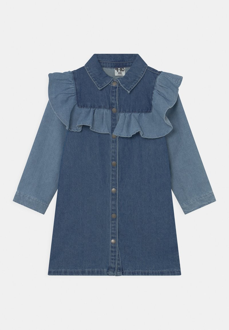 Cotton On - LUCILLE LONG SLEEVE FRILL DRESS - Denim dress - midnight