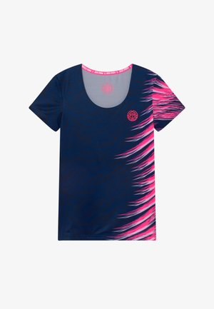 ELIANE TECH ROUNDNECK TEE - Print T-shirt - dark blue / pink