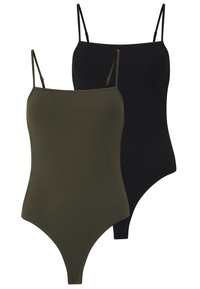 Even&Odd - 2 PACK - Top - black/khaki - 0