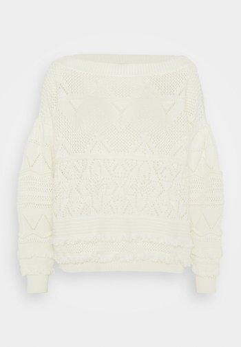 MAGLIA CROCHET CON FRANGE - Jumper - white