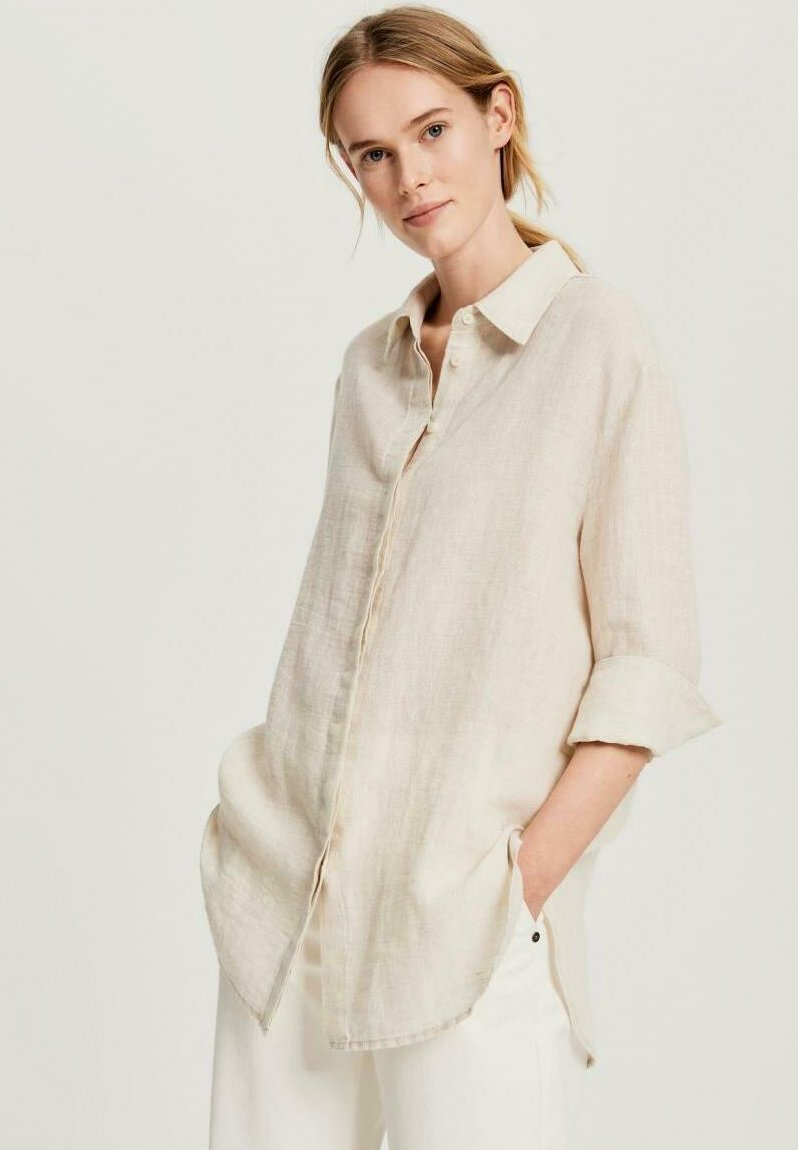 Opus - FYTHON RAW - Button-down blouse - beige