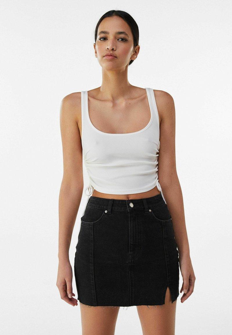 Bershka - Denim skirt - black
